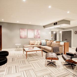 Idées déco pour un sous-sol contemporain avec un sol multicolore.