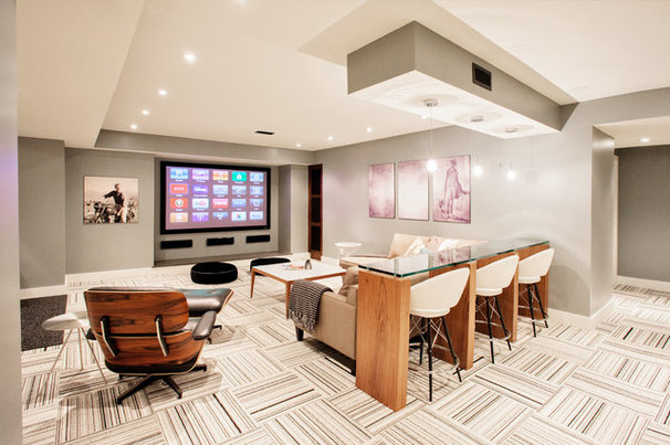 Contemporary Basement by Madison Taylor