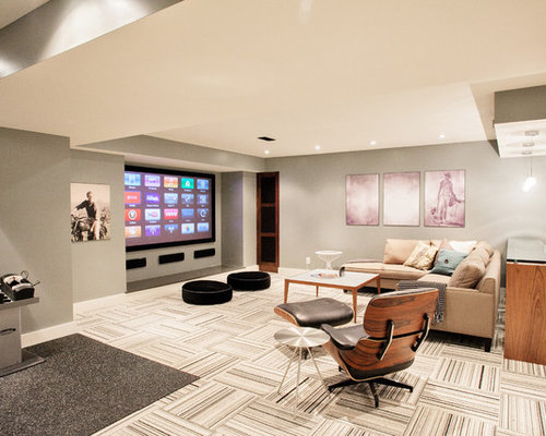 Example Of A Trendy Fully Buried Basement Design In Toronto With Gray  Walls, Carpet And