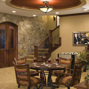 Basement - beach style carpeted and yellow floor basement idea in Minneapolis with beige walls and no fireplace