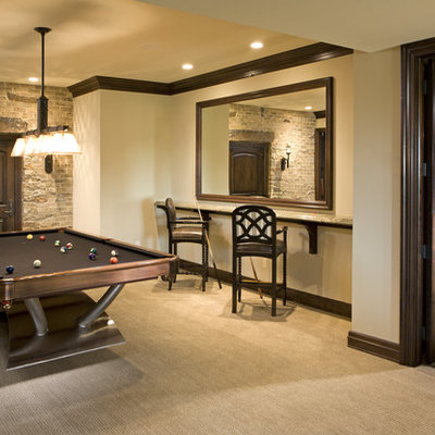 Basement - traditional carpeted and beige floor basement idea in Minneapolis with beige walls