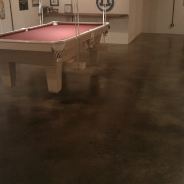 Game Room Stained Concrete Floors in Basement