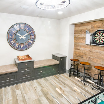 Gameroom Bench Seating in West Chester Basement