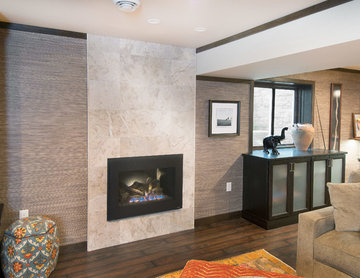 Gas Fireplace with Natural Stone Tile Surround