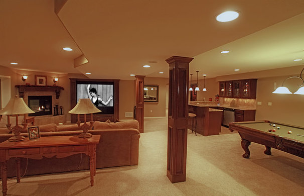 Traditional Basement by Brothers Construction