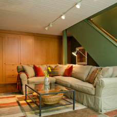 Contemporary Basement Guest House Family Room under Garage