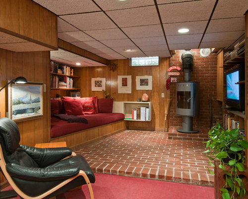 - Basement Design Ideas, Pictures, Remodel & Decor With A Wood Stove