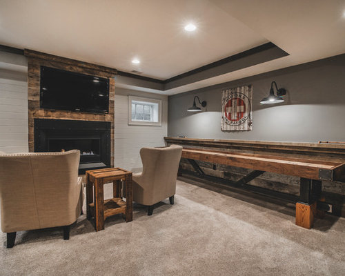 Basement design ideas pictures remodel decor with a for Rustic basement