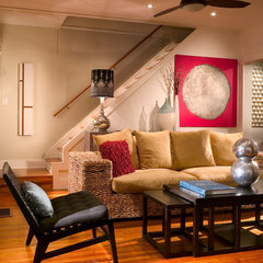eclectic basement by suzanne lawson design - interior design