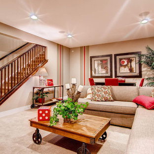 Elegant Look Out Carpeted And Beige Floor Basement Photo In Denver With  Beige Walls
