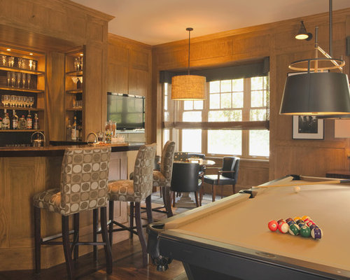 Example Of A Transitional Look Out Dark Wood Floor Basement Design In Los  Angeles