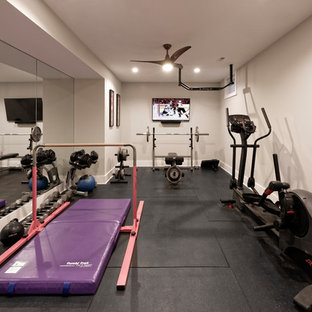 Home Gym in Sports Fan Dream Basement in Northern Virginia