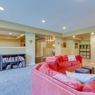 Inspiration for a large timeless look-out carpeted basement remodel in Louisville with beige walls