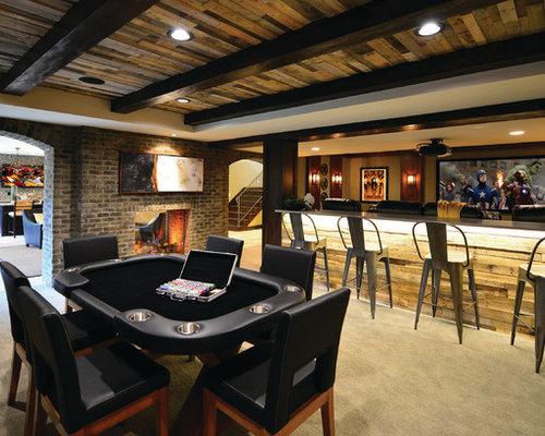 moderne keller mit kaminsims aus backstein ideen design. Black Bedroom Furniture Sets. Home Design Ideas