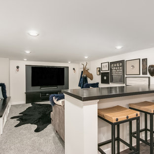 This is an example of a transitional fully buried basement in Chicago with white walls, carpet and grey floor.