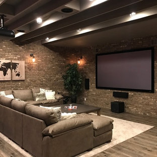 Basement   Large Rustic Medium Tone Wood Floor And Brown Floor Basement Idea  In Atlanta With