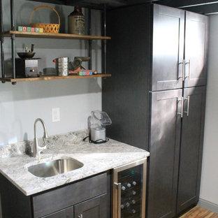 Idées déco pour un petit sous-sol classique enterré avec un mur gris, un sol en vinyl et aucune cheminée.