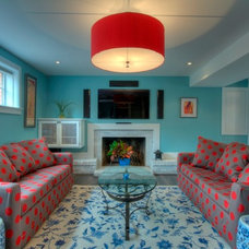 Eclectic Basement by Moss Building and Design