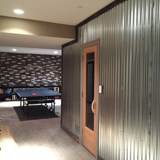 Inspiration for an industrial basement remodel in DC Metro