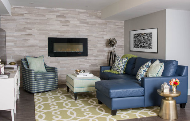 Transitional Basement by Decor by Christine Indoor Decorating & Design