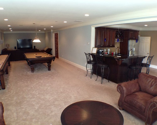 L shaped basement houzz for Basement design layouts