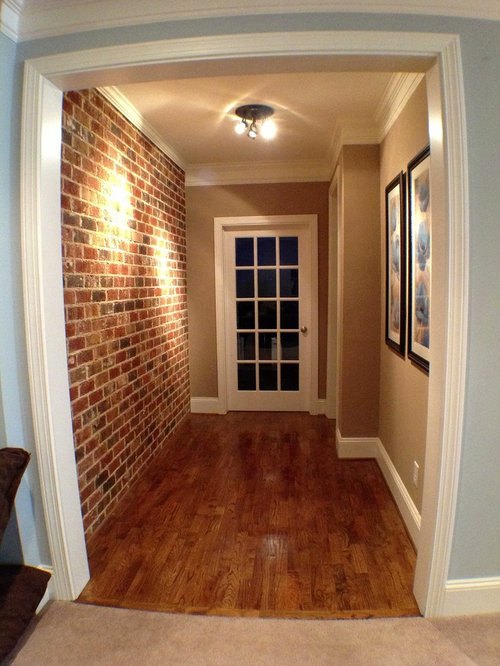 faux brick wall houzz. Black Bedroom Furniture Sets. Home Design Ideas