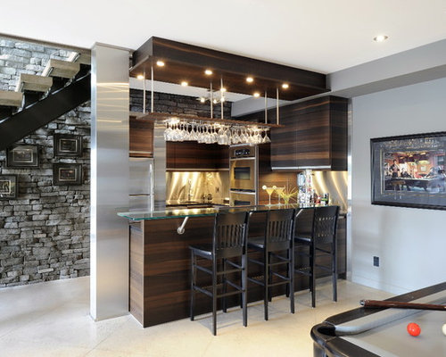 Basement Bar Design Ideas mini bar in the basement with slate herringbone tile starburst light dark clear view Saveemail