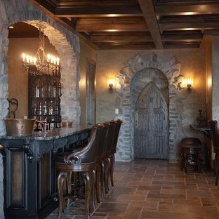 Example of a tuscan basement design in Other