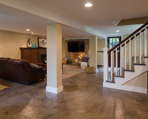 Arts and crafts basement design ideas renovations for Craftsman flooring