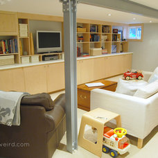 Modern Basement Lisa's Bright Cozy Basement Reno
