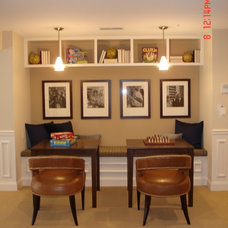Transitional Basement by Interiors by LK
