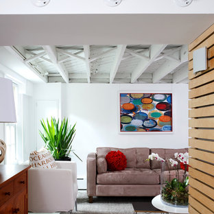 Basement - contemporary look-out ceramic floor basement idea in DC Metro with white walls and no fireplace