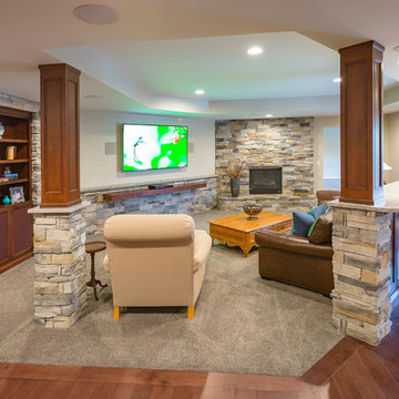 Loveland Traditional Lower-Level Remodel with Stone Accent Wall