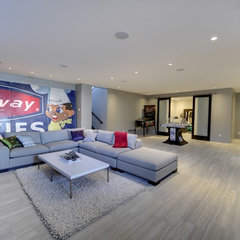 contemporary basement Low level entertaining space