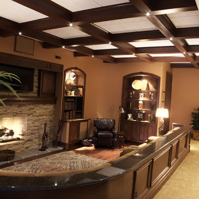 Trendy basement photo in St Louis with a standard fireplace and a stone fireplace