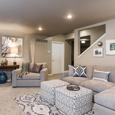 Example of a transitional basement design in Kansas City