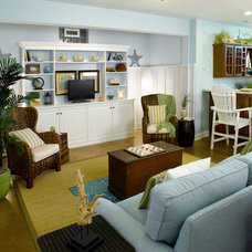 Beach Style Basement by Devine Designs