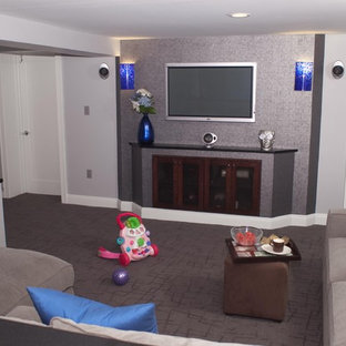 Inspiration for a contemporary basement remodel in New York