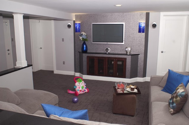 Contemporary Basement by DJ's Home Improvements