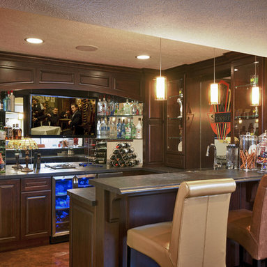 shaped Bar Basement Design Ideas, Pictures, Remodel and Decor