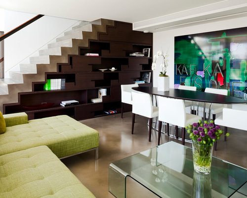 Inspiration For A Contemporary Look Out Concrete Floor Basement Remodel In  Vancouver With White Walls