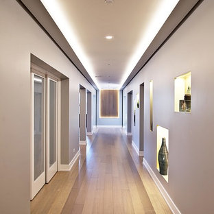 Design ideas for a large traditional look-out basement in Chicago with grey walls, bamboo flooring and no fireplace.