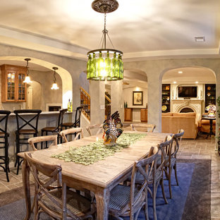 Inspiration for a mediterranean gray floor basement remodel in Detroit