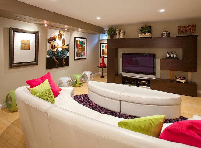 Contemporary Basement by Décoria Interior Designs