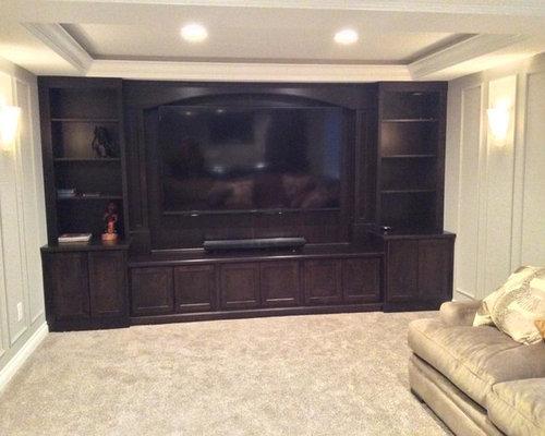 plush basement design ideas renovations photos with carpet