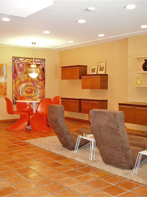 houzz walk out basement with terra cotta floors design ideas