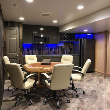 man cave, timber wall, wet bar, poker table