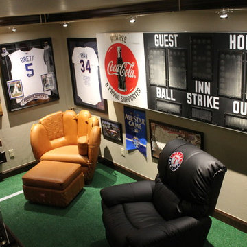 Man Cave with Scoreboard and Baseball Furniture