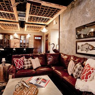 Ispirazione per una taverna industriale di medie dimensioni con pavimento in vinile