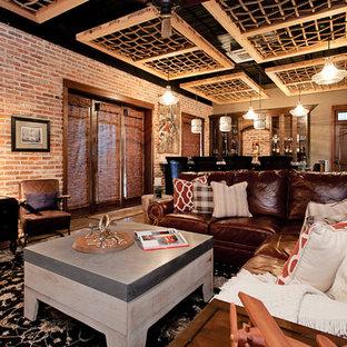 Idée de décoration pour un sous-sol urbain de taille moyenne avec un sol en vinyl.